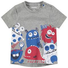 Camiseta de manga corta de punto con monstruos de colores