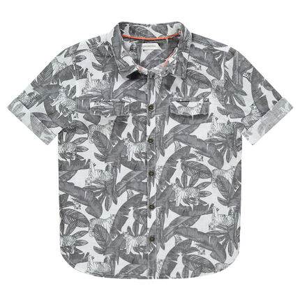 Júnior - Camisa de manga corta con estampado vegetal