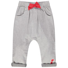 Pantalón jaspeado con cintura elástica con lazo