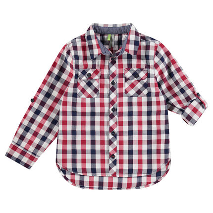 Camisa de manga larga de cuadros en contraste con bolsillos