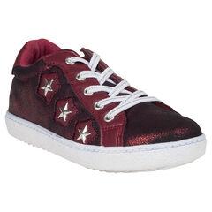 Zapatillas de deporte de caña baja de color burdeos con remaches con purpurina con estrellas