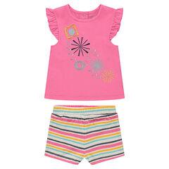 Conjunto de camiseta con bordados y pantalón corto de rayas de esponja