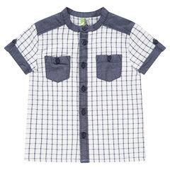 Camisa de manga corta de cuadros con aplicaciones de cambray