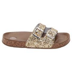 Nu-pieds à paillettes dorées avec boucles