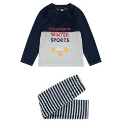 Pijama de terciopelo bicolor con inscripciones bordadas y estampados ©Smiley