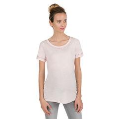 Camiseta premamá de manga corta con bordados finos