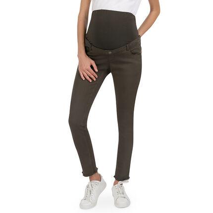 Pantalón premamá de sarga con corte slim y bolsillos