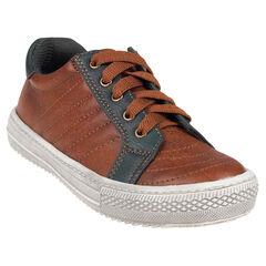 Zapatillas de deporte de caña baja con cordones de aspecto cuero con cremallera