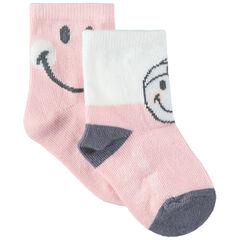 Juego de 2 pares de calcetines con dibujos de Smiley de jacquard