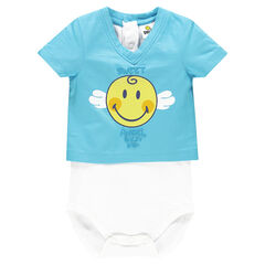 Body de manga corta con efecto 2 en 1 y estampado Smiley