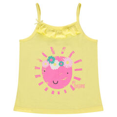 Camiseta de punto con volantes y estampado de fantasía