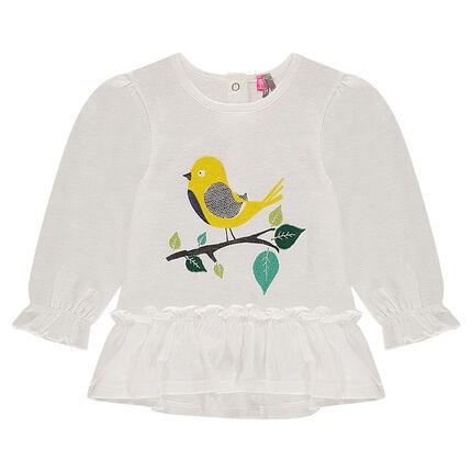 Camiseta estampada de manga larga con volante y pájaro estampado con hojas bordadas