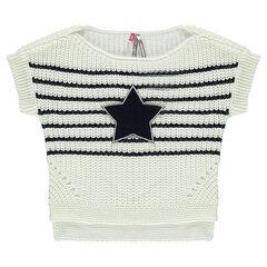 Jersey de manga corta de rayas brillantes con estrella de buclé