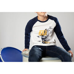 Júnior - Camiseta bicolor de manga raglán con estampado de fantasía