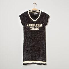 Júnior - Vestido de manga corta de punto oruga jaspeado con inscripción de leopardo