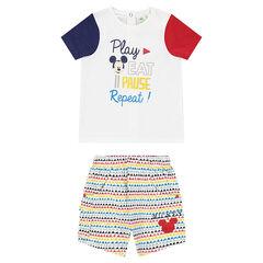 Conjunto de camiseta con estampado de Mickey y pantalón corto con estampado