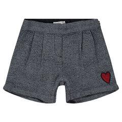 Pantalón de algodón con corazón de lentejuelas rojas