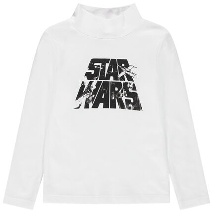 Camiseta interior de punto liso y cuello subido con estampado de Star Wars