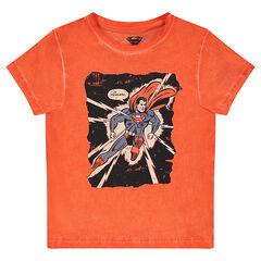 Camiseta de manga corta de punto teñido con estampado ©Warner Superman