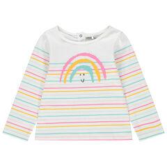 Marinera de algodón ecológico con rayas de colores y arcoíris estampado