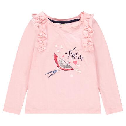 Camiseta de manga larga de punto con pájaro bordado y nido de abeja