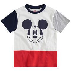 Camiseta de manga corta tricolor con estampado Mickey ©Disney