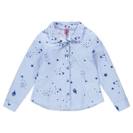 Camisa de manga larga con rayas finas y dibujos estampados