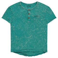 Camiseta de manga corta con sobreteñido con cuello tunecino