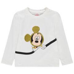 Camiseta de punto de manga larga con estampado de Mickey Disney y lentejuelas mágicas