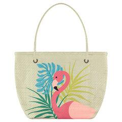 Bolso de playa de paja con estampado de flamenco rosa
