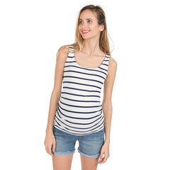 Camiseta acanalada sin mangas de premamá con espalda de fantasía