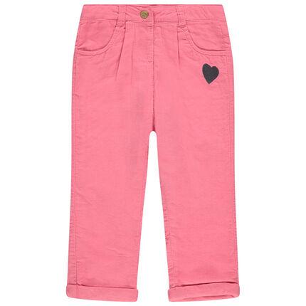 Pantalón de terciopelo con forro de punto con corazón bordado