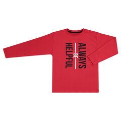 Camiseta de manga larga rojo con texto estampado
