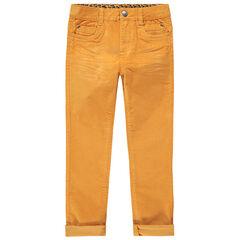 Pantalón de terciopelo raso con corte slim