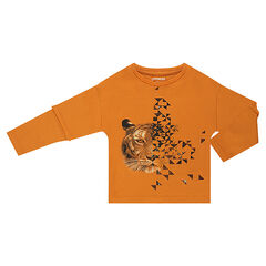 Camiseta de manga larga efecto 2 en 1 con tigre estampado