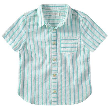 Camisa de manga corta de rayas de jacquard que contrastan y bolsillo