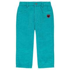 Pantalón de terciopelo con parche y huella