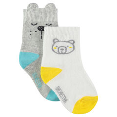 Juego de 2 pares de calcetines variados con dibujo de osito
