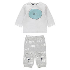 Conjunto de camiseta con forro de punto y pantalón con estampado de osito