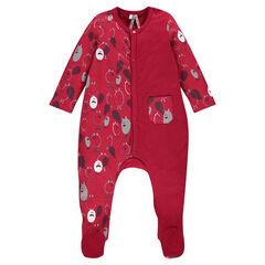 Pijama de una pieza con un lado estampado y otro liso