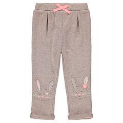 Pantalón de chándal de felpa con conejos cosidos