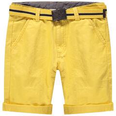 Júnior - Bermudas de algodón teñido con cinturón desmontable