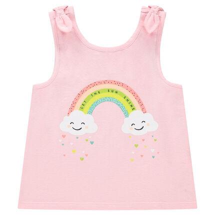 Camiseta lisa de punto sin mangas con lazos y estampados de fantasía