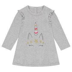 Vestido de manga larga de punto con estampado de unicornio brillante