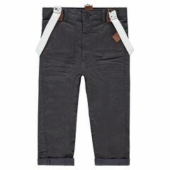 Pantalón recto con forro de punto y tirantes extraíbles