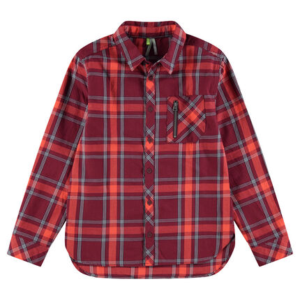 Júnior - Camisa de cuadros con bolsillo con cremallera