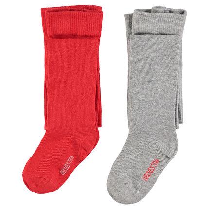 Pack de 2 medias gruesas rojas/gris jaspeado