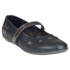 Zapatos merceditas con velcro de cuero efecto agrietado con remaches con estrellas