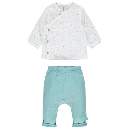 Conjunto de camiseta estampada y pantalón liso