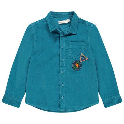 Camisa de manga larga de terciopelo azul con bolsillo y parches